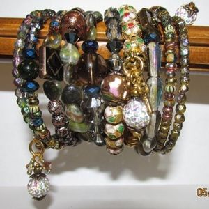 Jewelry - various boho fun memory wire coil bracelets beads!